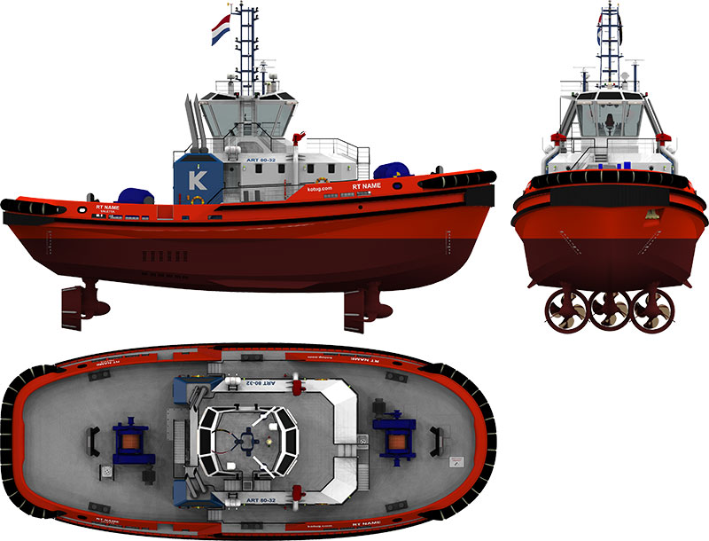 ART 80-32 Class Rotor®tugs designed by Robert Allan Ltd  to