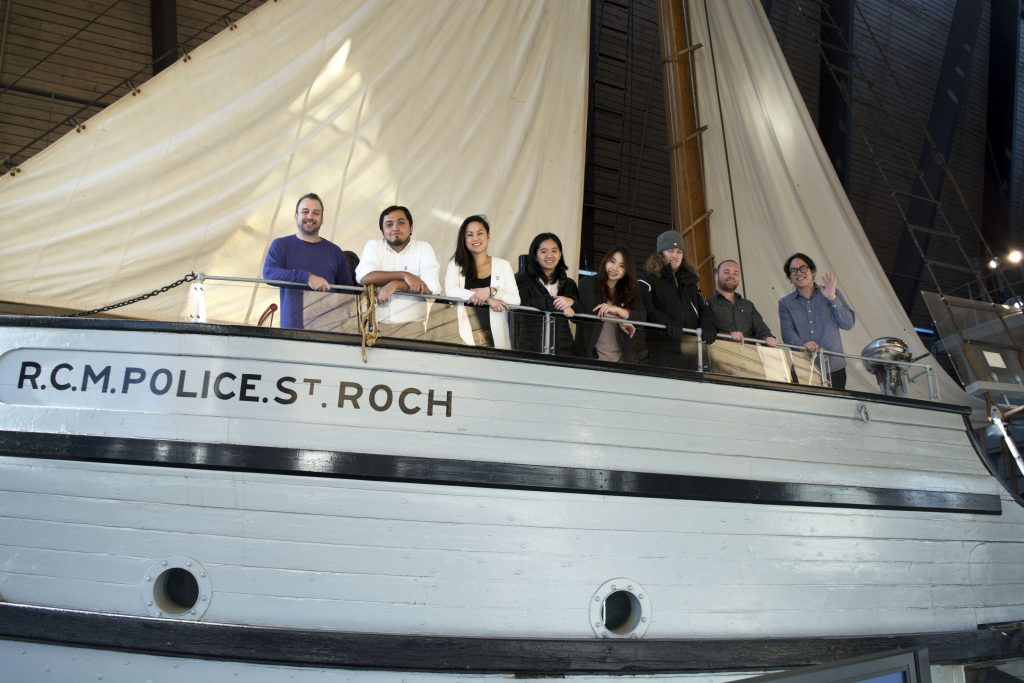 The eight students from the Masters of Digital Media program at the Centre for Digital Media who developed the St. Roch Wheelhouse Experience and touchscreen in collaboration with Vancouver Maritime Museum and Haley Sharpe Design