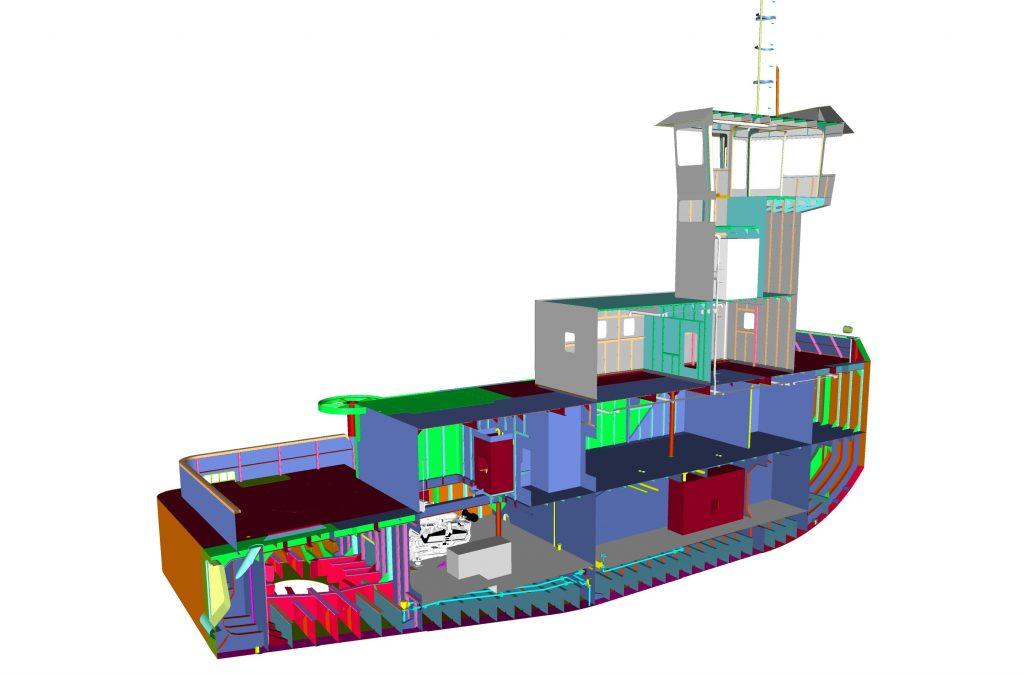 Inboard Profile Cutaway View of the Tug
